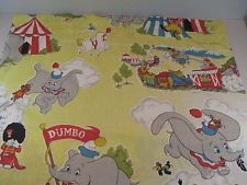 Vintage Dumbo Curtains 2 Panels Each 32x38 Fabric Disney Flying Elephant Circus