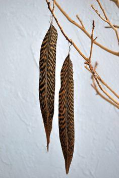 Brown Striped Pheasant Feather Earrings  Style 098 by jessamurph, $18.00
