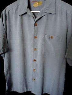 Men's Caribbean Joe 100% Silk Pineapple Hawaiian Shirt Wood Button Sz M Blue