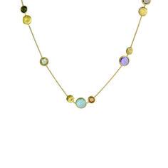 """Marco Bicego Jaipur 16"""""""" Mixed Gemstones Station Necklace"""