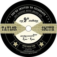 save the date music theme | Gold Glitter Music Awards Themed Party Invitation