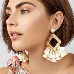Dvacaman New Big Bohemian Tassel Earrings Women Hot Sale Square Rattan Kint Geometric Drop Earrings Handmade Bamboo Jewelry Body Jewelry, Fine Jewelry, Jewelry Necklaces, Cheap Jewelry, Gold Bracelets, Glass Jewelry, Craft Jewelry, Statement Earrings, Women's Earrings