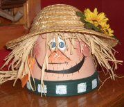 This clay pot scarecrow is too adorable