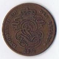 1870 Belgium Two Cent Leopold II Copper Coin KM 35.1