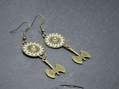 Battle Maiden Long Earrings Drop Dangle Buckler Shield &   Etsy Bronze Jewellery, Copper Jewelry, Handmade Jewelry, Unique Jewelry, Handmade Gifts, Battle, Crochet Earrings, Dangles, Drop Earrings