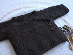 garter stitch baby kimono style sweater, 0-3m