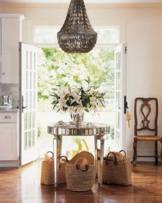french doors/round table
