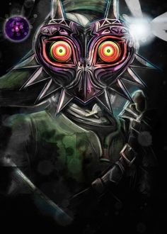 Inspired by Nintendo's game series The Legend of Zelda this is my painting artistic representation of how Link would look wearing Majora's Mask