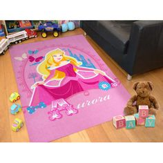 Online Licensed Pink Disney Princess Aurora Kids Rug Easy Au 01 Large