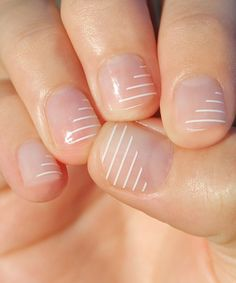 Another great find on #zulily! Angled White Stripe Nail Wrap - Set of Two #zulilyfinds