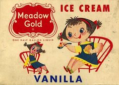 Vintage Meadow Gold Vanilla  Illustration by Mary Blair