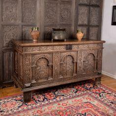 Elizabeth I oak carved chest, Marhamchurch antiques