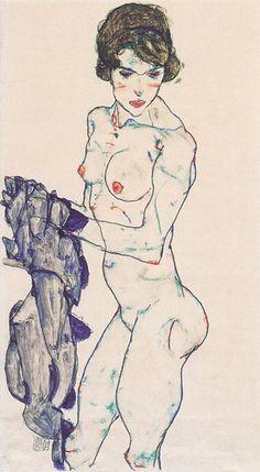 File:Egon Schiele - Stehender weiblicher Akt mit blauem Tuch - 1914.jpeg