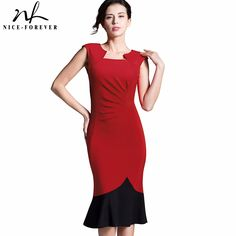 Aliexpress.com : Buy Nice forever New Mermaid Dress Gather Elegant  sleeveless Women Sheath Contrast color Pencil Bodycon Female Formal Dress b289 from Reliable dress for success men suppliers on NICE-FOREVER Official Store