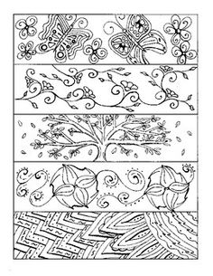 4 detailed bookmarks.  Recommended for higher-level grades and even adults who like to color :)  Print on cardstock and laminate for durability.