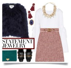 """""""#PolyPresents: Statement Jewelry"""" by emyemoemu ❤ liked on Polyvore featuring Free People, MSGM, Gucci, Saks Fifth Avenue, Miss Selfridge, Tory Burch, contestentry and polyPresents"""
