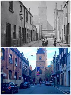 Valentine St looking toward George St, Haymarket 1910 > 2016 [City of Sydney Archives > Curt Flood. By Curt Flood] Then And Now Photos, As Time Goes By, Amazing Pics, Historical Photos, Old Photos, Sydney, Past, Sailing, Photographs