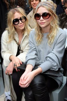 MKA MARY KATE ASHLEY OLSEN CLOSE UP CHANEL FRONT ROW HEAD WRAP SCARF SUNGLASSES CHANEL TWO TONE HALF GREY GRAY SWEATER CROC BLACK CLUTCH LEATHER PANTS RINGS PYTHON SNAKE