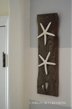 Coastal Starfish Towel Key Hanger - Rustic Reclaimed Wood. $36.00, via Etsy.