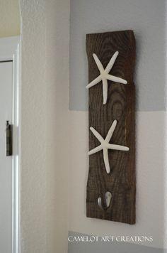 Coastal Starfish Towel - Coat - Key - Hanger - Rustic Reclaimed Wood. $18.00, via Etsy.