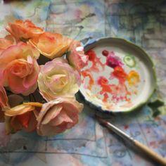 Paper flowers summer wedding bouquet - work in progress. For questions, please contact: thepaperheart.blog@gmail.com #wedding #bohemian #boho #romantic #shabby #style #fashion #rustic #bride #bridal #paper #flower #floral #lowers #bouquet #craft #art #decor #decoration #etsy #shop #instagram