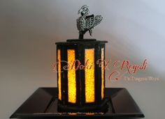Black sesame cookie and royal icing. Lantern of the phoenix