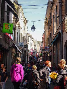 Busy street in downtown Namur, Belgium.