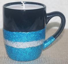 Soy Candle in Black Glitter Mug  Glitter Mug by DancingWindDesigns
