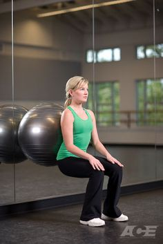 Wall squats with stability ball {works glutes, quads, hamstrings and abs}