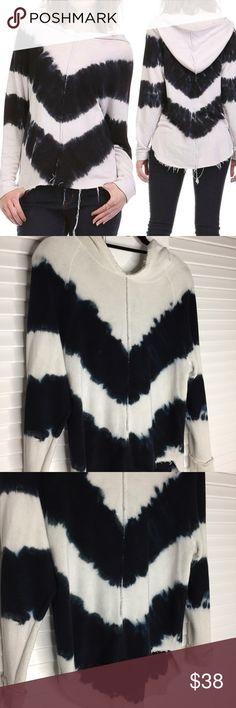 Mono B Tie Dye Hoodie in Cream/ Navy Worn once- Mono B Tie Dye Hoodie  Tie dye hooded sweater top in navy and cream. Pair with your favorite jeans and boots for a casual and comfy look!  Fiber Content: 49% cotton, 48% rayon, 3% spandex Mono B Tops Sweatshirts & Hoodies