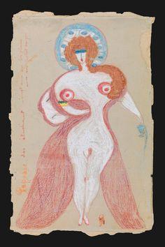 Papesse des étudiant, 1924-1941  Internada a los 32 años por esquizofrenia, Aloïse Corbaz (1886-1964) comenzó a escribir y dibujar poco después de ingresar en el hospital. Su exuberante imaginación y su talento la han convertido en una figura emblemática del arte bruto.  Mejor recorrer curvas que una carretera recta. Los cánones de belleza... ¿avanzan o retroceden?