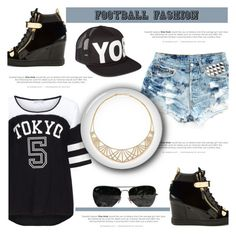 """Game On! Fun Football Fashion"" by antemore-765 ❤ liked on Polyvore featuring Yoek, Levi's, Giuseppe Zanotti, Adriana Orsini, Ray-Ban and BOY London"