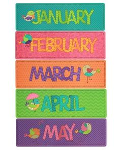Bebop Birdie Monthly Headers - A little birdie told us you're in need of #classroom décor that's charming, colorful, and cheery… Look no further! Our exclusive Bebop Birdie collection features an enticing combination of patterns, colors, and textures for a look that's delightfully dynamic and diverse. Blending trendy burlap accents with classic whimsical designs, Bebop Birdie gives you the best of stylish décor with timeless vintage appeal. What a fine feathered friend! #teachers