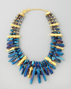 Iridescent Rock Crystal Necklace, Blue by Jose & Maria Barrera at Neiman Marcus.