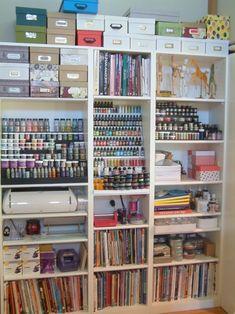 Craft room/Scrapbook room organization by winifred Scrapbook Storage, Scrapbook Organization, Studio Organization, Organization Ideas, Storage Ideas, Scrapbook Rooms, Storage Cubes, Scrapbook Supplies, Diy Storage