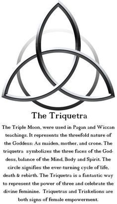 The Triquetra: The Triple Moon is used in Pagan and Wiccan teachings. It represents the threefold nature of the Goddess: As maiden, mother and crone. The Triquetra symbolizes the three faces of the Goddess, balance of the Mind, Body and Spirit. The circle Magick, Witchcraft, Wiccan Spells, Pagan Witch, Tarot, Book Of Shadows, Spelling, Chakra, Body Art