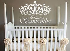 "Princess Wall Decal with crown,girls room,nursery,LARGE ,22 "" x 34"",wall decal,personalized, Vinyl Wall Art - Vinyl Lettering - shabby chic on Etsy, $23.95"