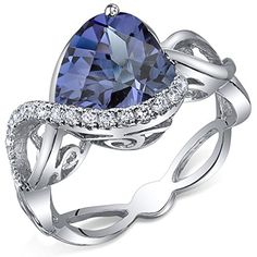 400 Carats Simulated Alexandrite Ring Sterling Silver Heart Shape Swirl Design Size 8 * Find out more about the great product at the image link.(This is an Amazon affiliate link)