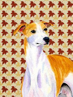Whippet Fall Leaves Portrait Flag Garden Size