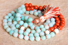 Amazonite Mala Beads, Healing Jewelry, Buddhist Necklace, Knotted Prayer Beads, Japa Mala For Healing, Detox, Stress Relief