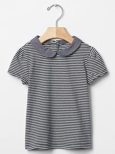 Stripe round collar top | Gap