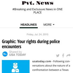 Do U kno what 2 do IF THE POLICE STOP YOU?  Read Pvt. News  http://ift.tt/1CeNjph #PvtNews