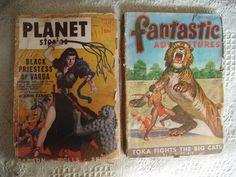 Vintage 1940's Planet Stories Black Priestess of Varda - Fantastic - Lot of 2