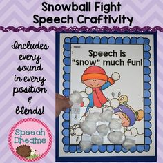 Winter Speech Craft for articulation or language: What a fun way to practice your speech words and make a super fun snowball craft.  Every sound in every position plus blends are included with images for every word.  You have 10 words for every sound in the  initial, medial and final position of words.