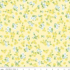 "45"" Cotton Floral, 100% Cotton - AquaBlue/Yellow Floral on Yellow (2-16-17)"
