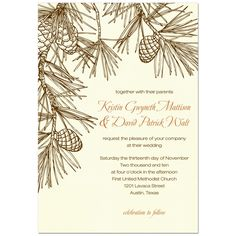 pinecone wedding invites