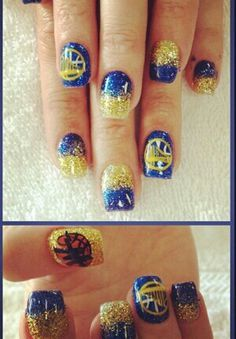 #Warriors nails I'm soo doing this when I get a full on my nails #go warriors