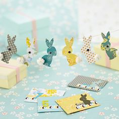 Little Bunnies Garland Template ((love the color ideas))