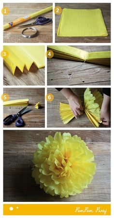 How to make pa pompoms - Diy How to Crafts Fun Crafts, Diy And Crafts, Arts And Crafts, Flower Crafts, Diy Flowers, Diy Paper, Paper Crafting, Craft Projects, Projects To Try