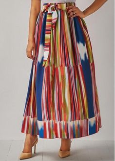 Printed Elastic Waist Belted Maxi Skirt .on sale only US$29.28 now, buy cheap Printed Elastic Waist Belted Maxi Skirt at Rosewe.com
